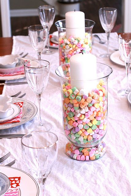Valentine table decor place a candy filled vase hurricane