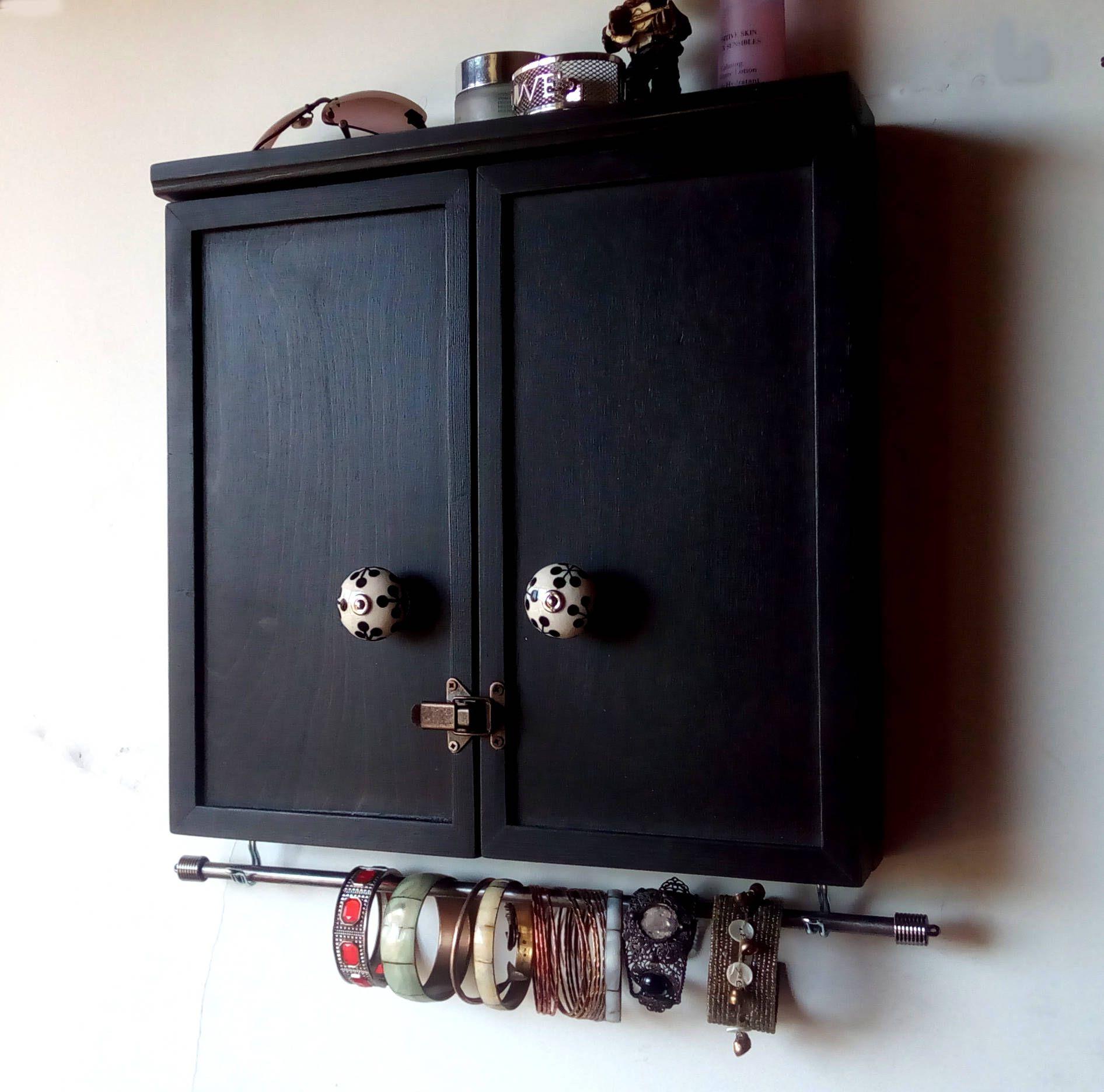 Jewelry cabinet. earrings display. Armoire. BLACK jewelry ...