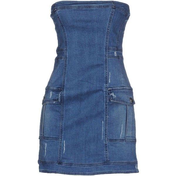 Pierre Balmain Short Dress (2 640 SEK) ❤ liked on Polyvore featuring dresses, blue, pierre balmain, blue dress, blue sleeveless dress, short blue dresses and zipper dress