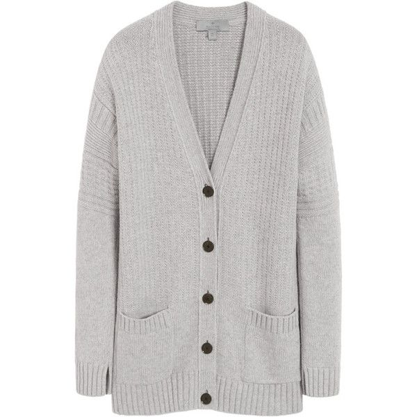 Guernsey Cardigan Light Grey Marl Merino Blend ($1,200) ❤ liked on Polyvore featuring tops, cardigans, sweaters, jackets, outerwear, v neck cardigan, button cardigan, oversized tops, marled cardigan and light grey cardigan