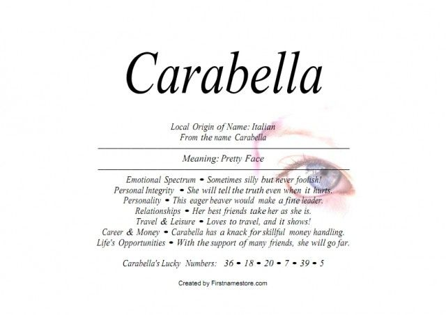 Italian Last Names And Meanings: Carabella Name Means Pretty Face In Italian