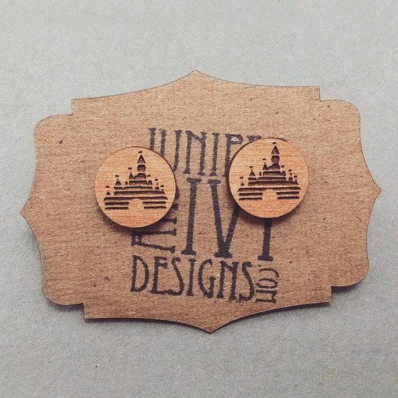Vintage Disney Castle Logo Post Earrings By VectorEngraving