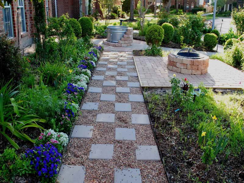 paver pea gravel checkerboard walkway