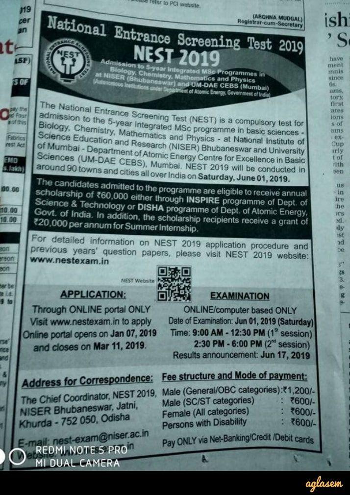 NEST 2020 Application Form Last Date 03 April (nestexam