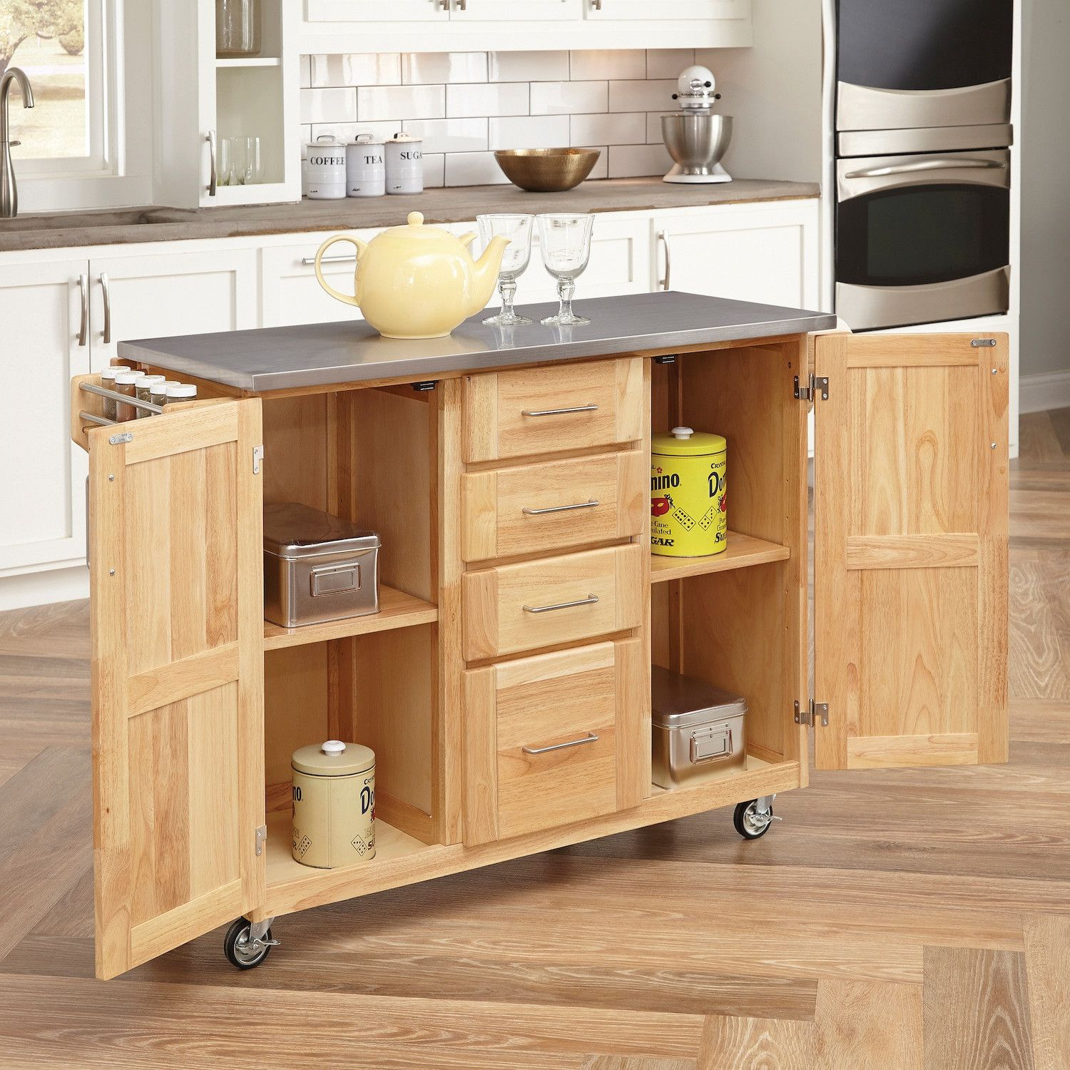 Home Styles Kitchen Island with Stainless Steel Top | Tiny Living ...