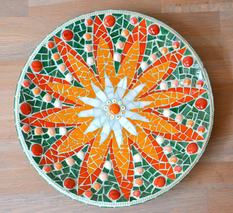 Orange flower glass mosaic dish. $70.00, via Etsy.