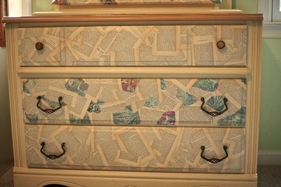 Decoupage furniture using book pages and scrapbook paper