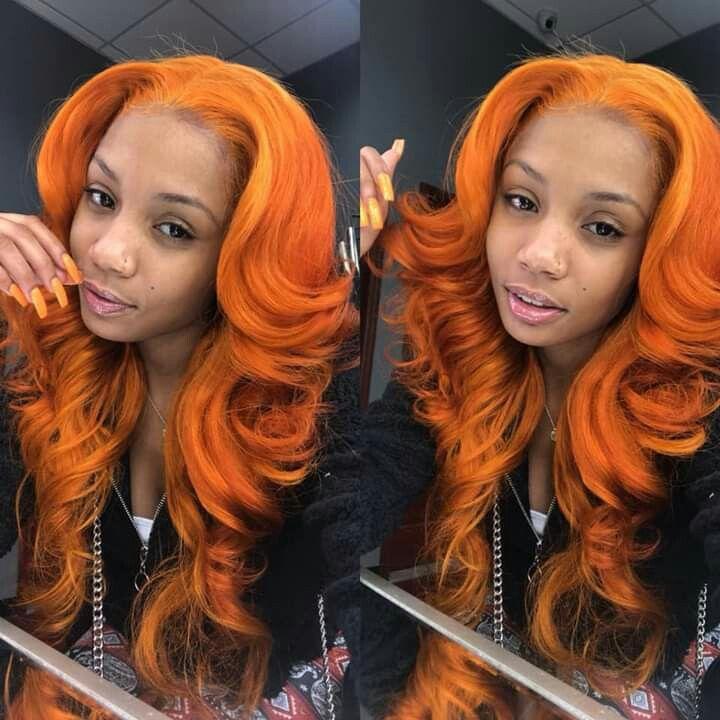 orange frontal sew-in poppin