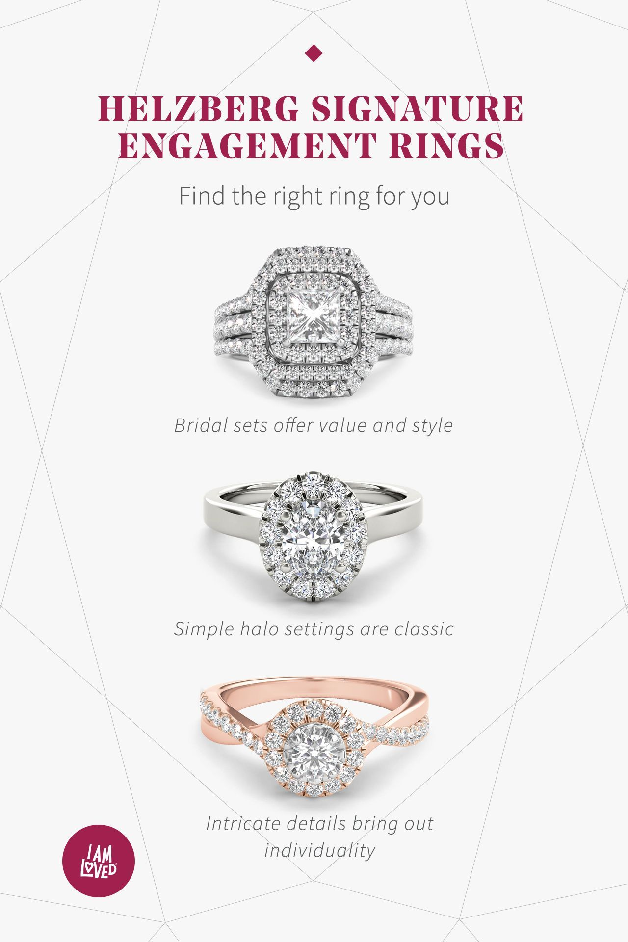 Helzberg Signature Engagement Rings Offer Halo Vintage Classic And Gemstone Styles Shop The Selection Engagement Rings Engagement Wedding Ring Sets Unique
