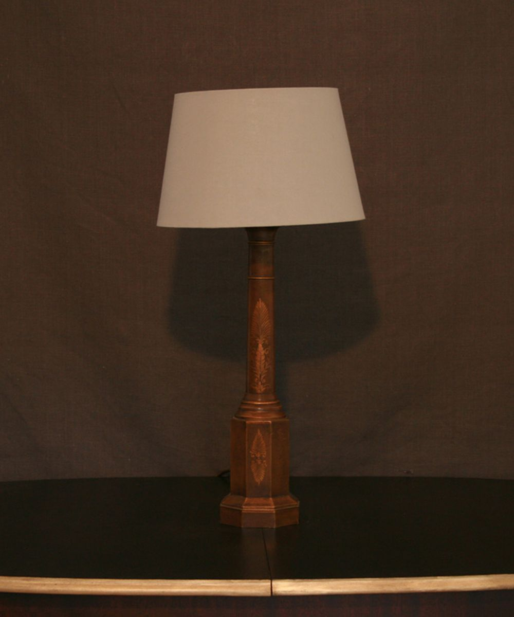 A beautifully hand painted vintage wooden column table lamp