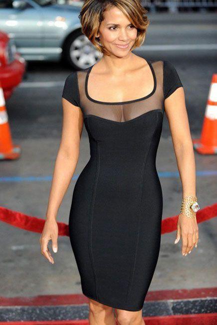 Black Round Neck Bandage Dress with Mesh Sight for women Under Price $70 At FeelStylish.com.