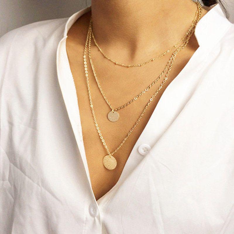 Mode-accessoires schmuck New Böhmen Mehrschichtige kettenglied runde Wafer halskette geschenk für frauen mädchen großhandel N1623