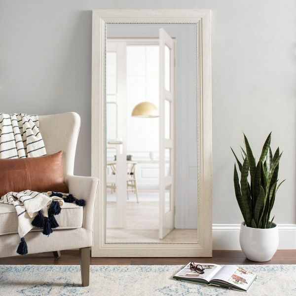 White Rustic Mirror with Silver Detail, 31.5x65.5 from ... on Floor Mirrors Decorative Kirklands id=81365