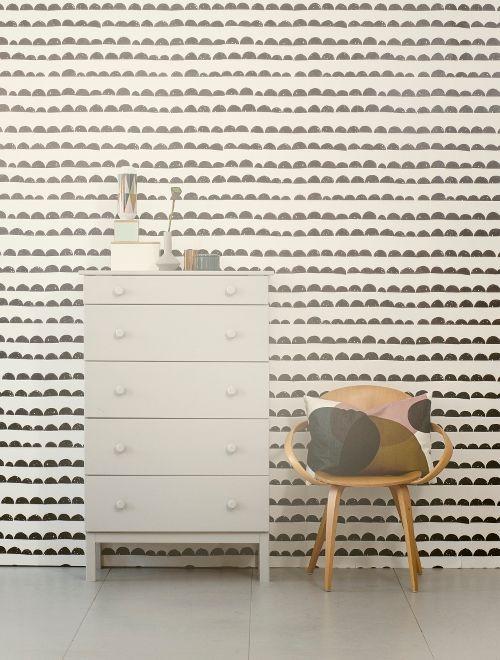Ferm Living Behang Wallpaper Half Moon Black Zwart