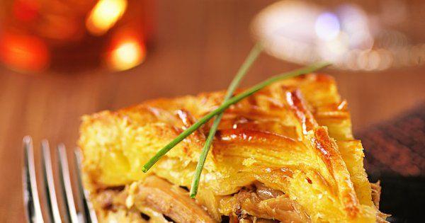 tourte de pintade au foie gras, foie gras, échine de porc, plat