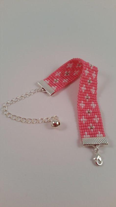 b75815cc2ffa Tejido miyuki pulsera blanco/plata/color de rosa con cadena de ...