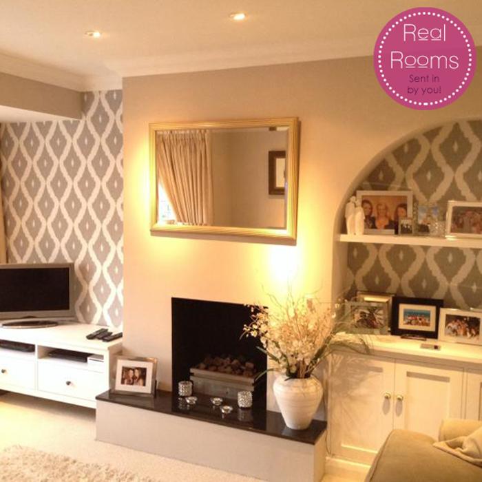 Kellys ikat wallpaper by kelly hoppen designer gray wall for Fancy wallpaper for living room