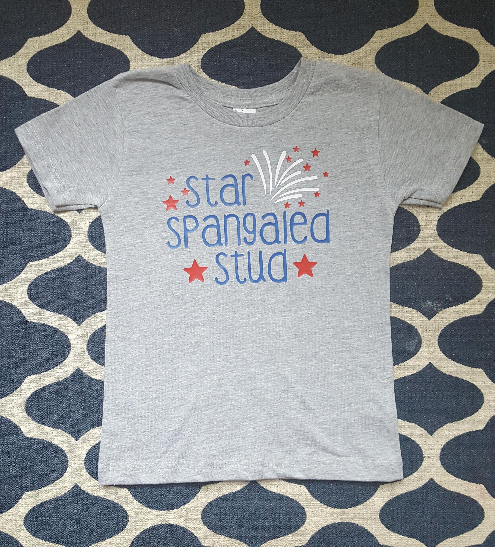 606c4b9d56d7 Star spangled stud. July 4th boys shirt. Fourth of July tee. by  Threesweetpeachesco on Etsy