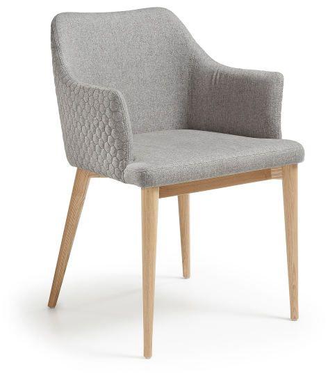 Danai silla brazos madera natural tejido acolchado gris