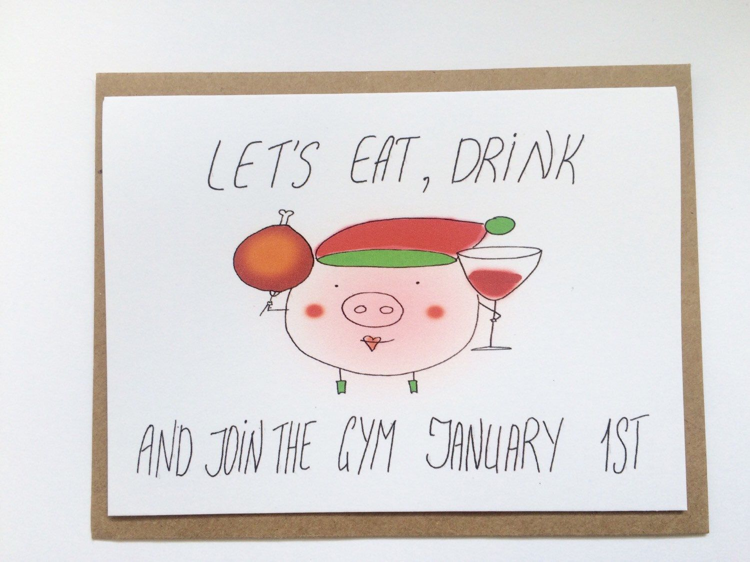 funny New Years card - happy holidays card gym - merry Christmas and ...