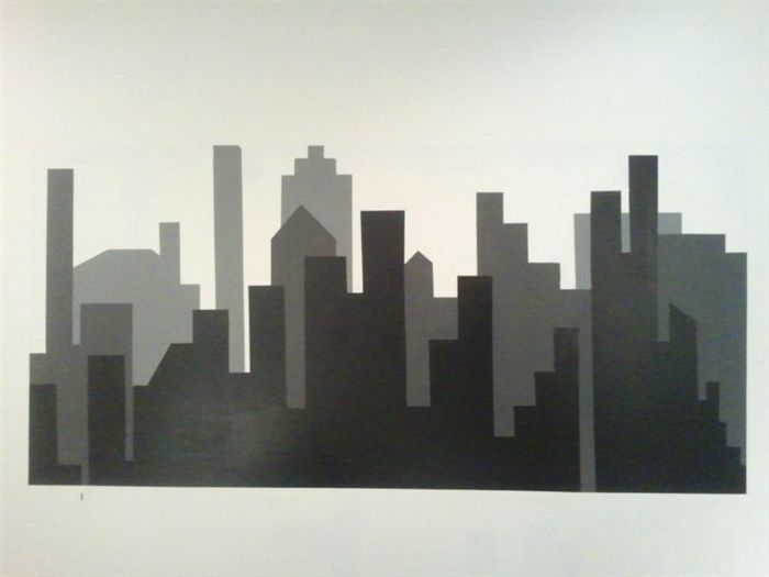 Diy painted skyline with shelving nursery batman room - How to paint murals on bedroom walls ...