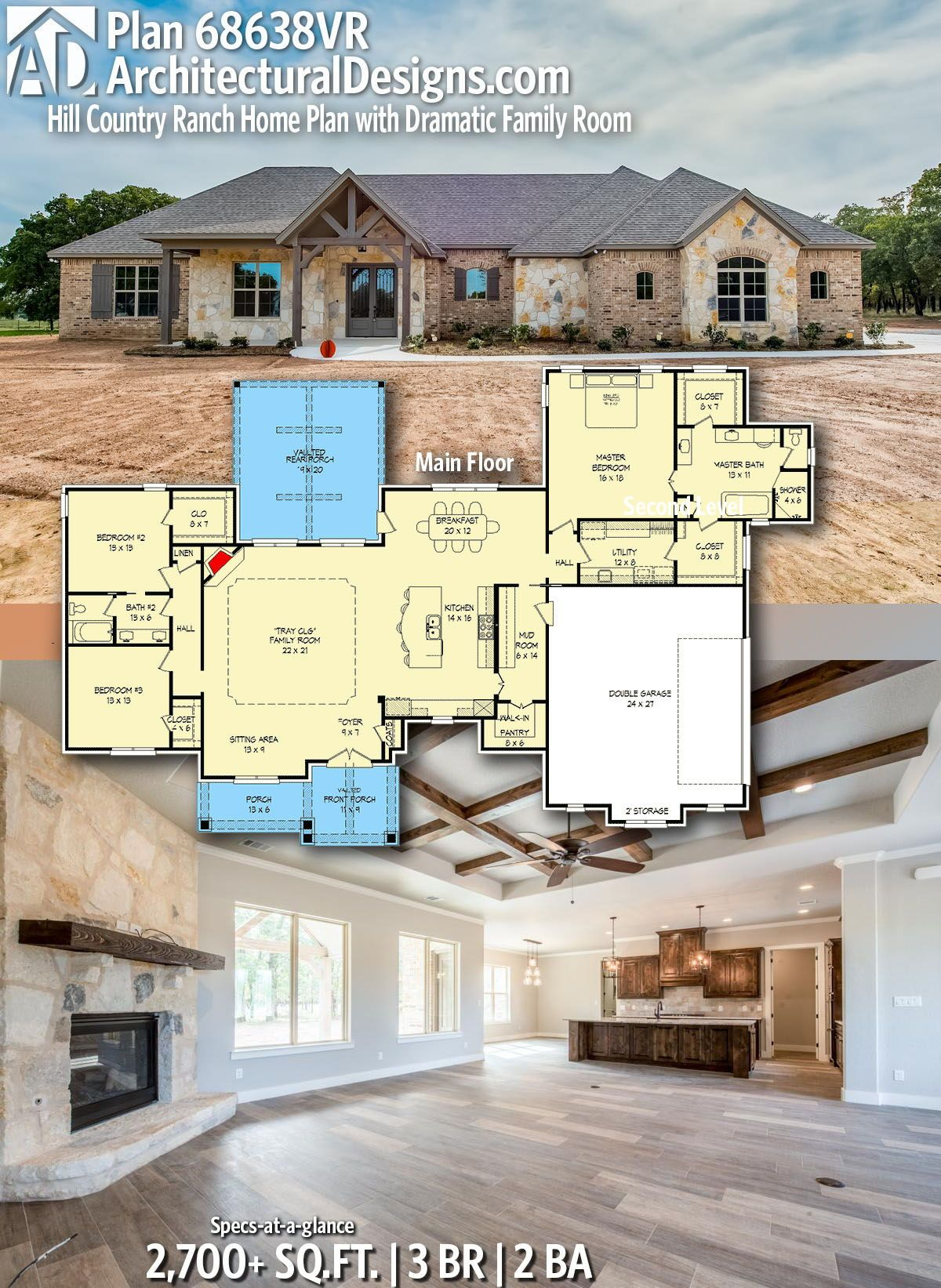 Plan 68638VR: Hill Country Ranch Home Plan with Dramatic Family Room