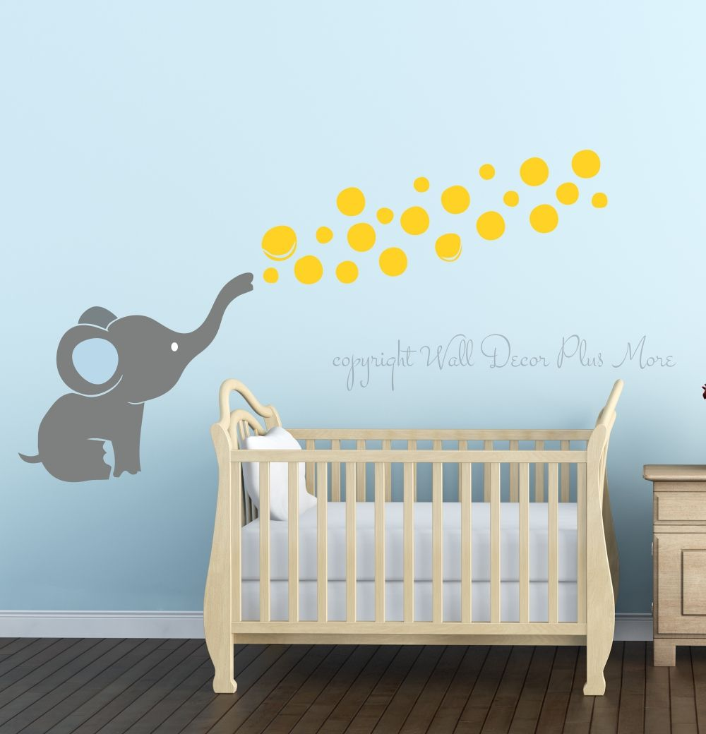 Elephant Wall Decal with Floating Bubbles, Cool Nursery Room Decor ...