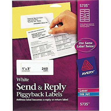 Avery Send Reply Piggyback Laser Inkjet Address Labels Sure Feed Technology 1 X3 White 12 Labels Sht 20 Sheets Pk 5735 At Staples Label Printer Labels Mailing Labels