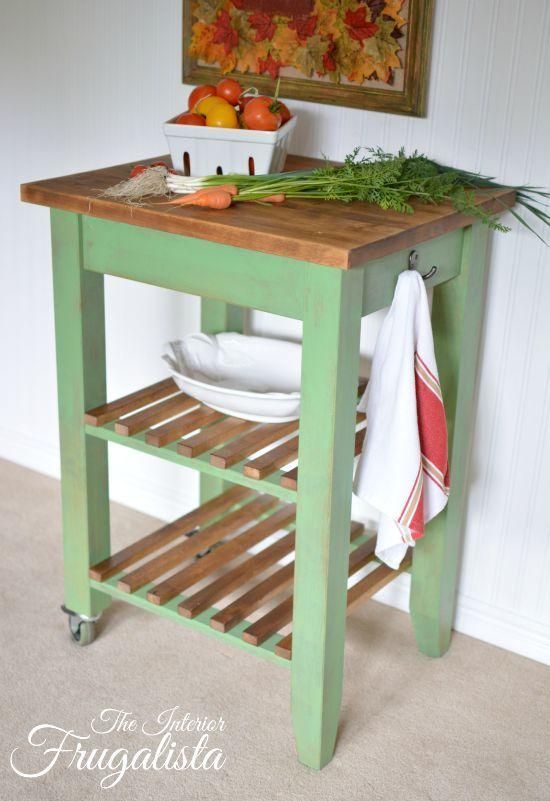 Ikea bekvam cart makeover with farmhouse charm mesas for Mesa auxiliar isla de cocina