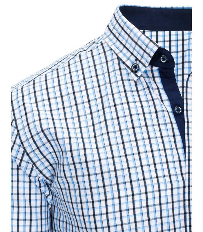 ead9a89cf20d Modrá pánska kockovaná košela s krátkym rukávom
