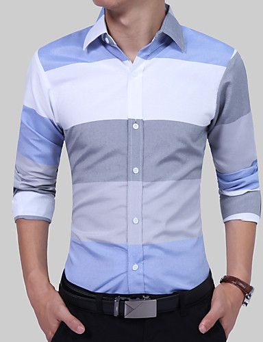 YYear Mens Button Up Business Striped Color Block Casual Dress Shirts