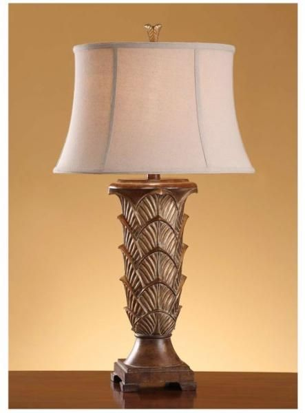 """Clearmont Table Lamp 35""""Ht., Resin Regency Gold Finish 15x19x12 Shade Linen Fabric"""