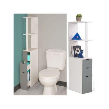 meuble wc tagre bois blanc et gris gain de place pour toilettes 3 portes vente