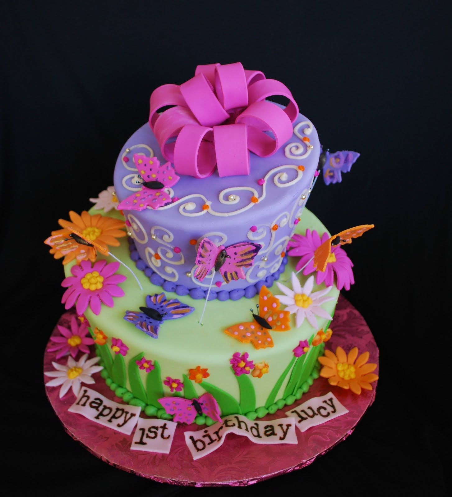 Little Girl Birthday Cakes The Beehive Topsy Turvy Butterfly