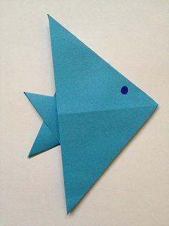 Fisch falten basteln mit kinder fisch falten papier falten basteln - Fische basteln aus papier ...