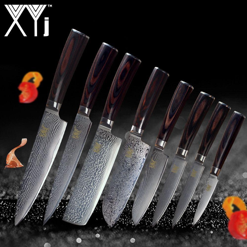 Xyj Vg10 Damascus Knives Chef Knife Tools Japanese Style Kitchen Knife Handmade 73 Layer Damascus Steel Knives Color Wood Handle Vg10 Dama Kuhonnye Nozhi Nozhi