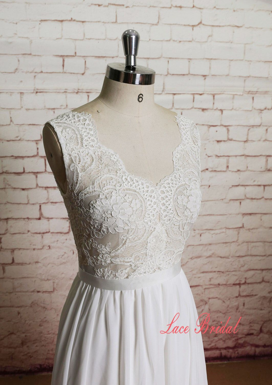 Sheer Ivory Lace Bodice Wedding Dress with A-line Chiffon Skirt ...