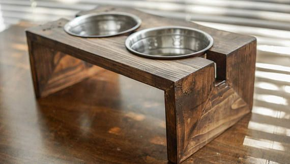 cat bowl stand rustic pet feeder Elevated Pet Bowl for small dogs and cats dog bowl stand Raised Pet Feeder