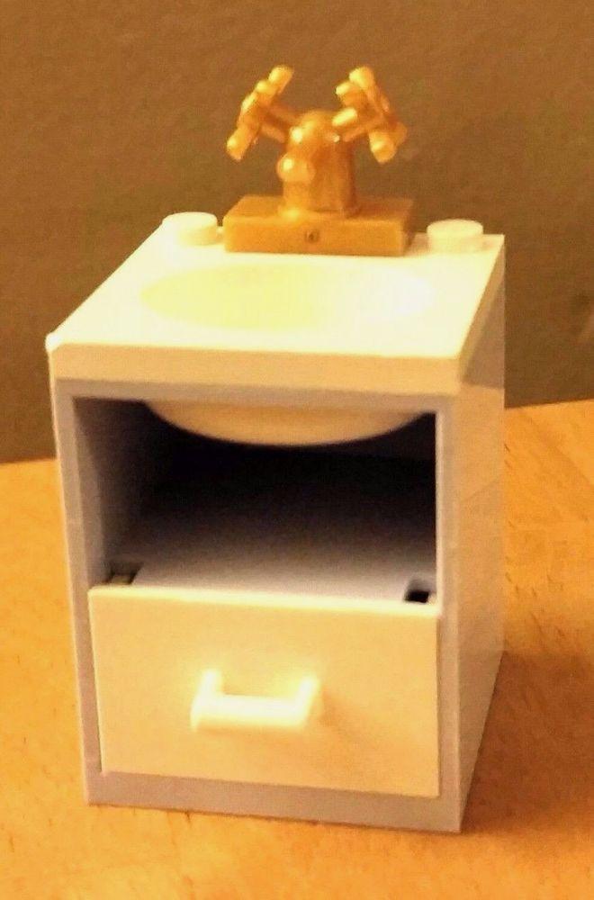 LEGO City Custom Furniture BATHROOM SINK White Pink Door Hearts Belville Friends