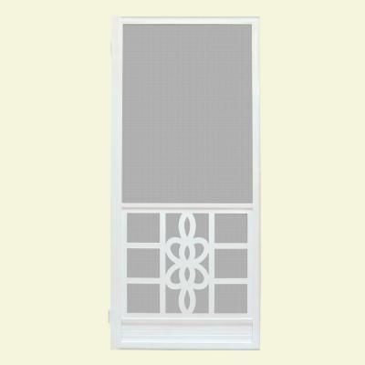 Unique Home Designs 36 In X 80 In Biscayne White Outswing Metal Hinged Screen Door Ishm450036wht The Home Depot With Images Unique House Design