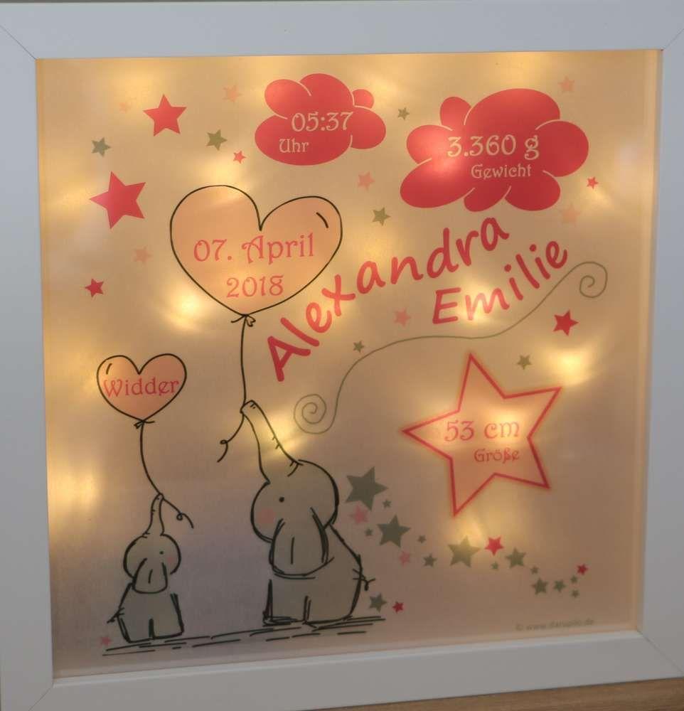 Personalisiertes Nachtlicht Zur Geburt Baby Und Kinderlampe Led Motiv Elefanten In Rosa Geschenke Zur Geburt Personalisierte Geschenke Geschenke