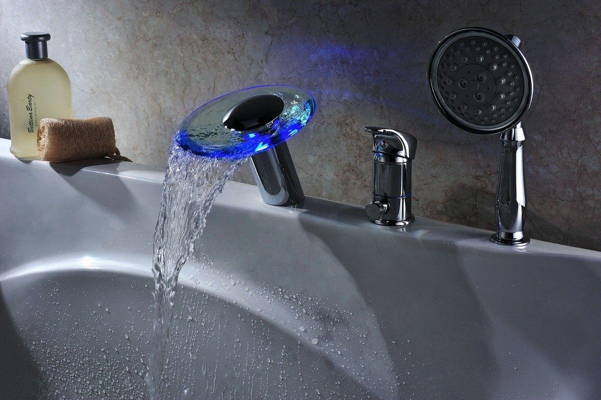 Single Handle Deck Mount Tub Faucet Set With Handheld Sprayer Singlehandletubfaucet Tub Faucet Tub Faucet Sets Led Faucet