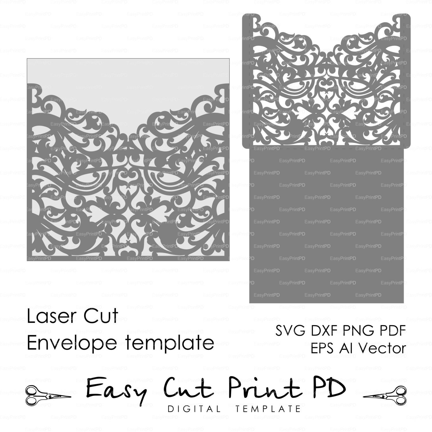 Scroll Wedding Envelope pattern Template swirl cutting file (svg ...