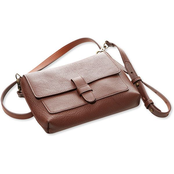 L.L.Bean Signature Double-Faced Leather Cross-Body Bag (155 CAD) ❤ liked on Polyvore featuring bags, handbags, shoulder bags, leather crossbody, brown shoulder bag, brown leather crossbody, leather crossbody handbags and leather crossbody purses