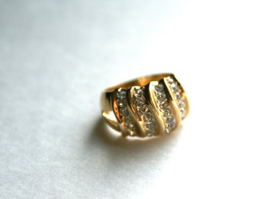 Vintage Rhinestone and Goldtone Wavy Ring by RinnovatoVintage Size 8, $18.00
