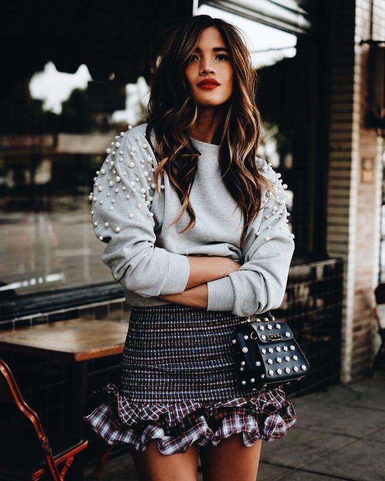 5dce8f2c116b Gray beaded sweater with cute ruffled mini skirt.   Fashionista ...