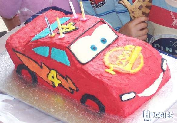Buttercream lightning mcqueen cake with birthday boys name for logo