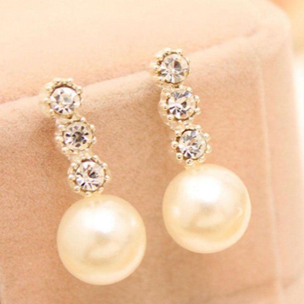Charming Fashion Women Lady Elegant Pearl Rhinestone Ear Stud Earrings  Jewelry
