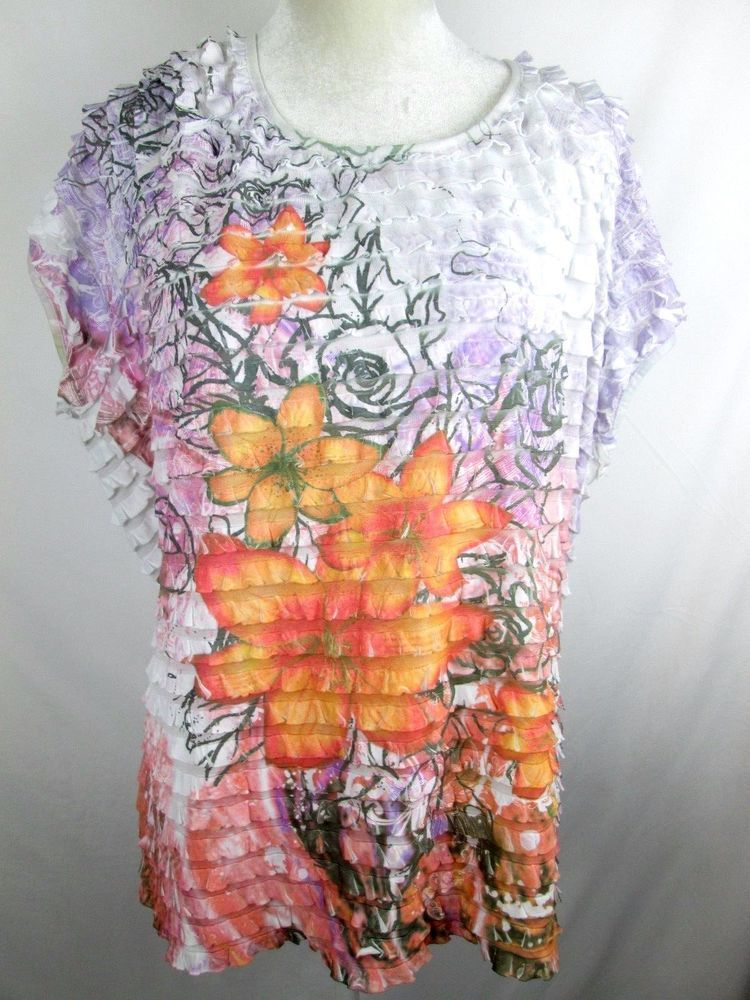 bb135a63cd7 LANE BRYANT SIZE 26 28 Semi-sheer White Ruffle Floral CRINKLE BLOUSE Top  CUTE!  LaneBryant  Blouse
