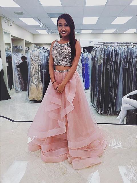Terani Couture #twopiece #promgown with beaded crop top. This ...